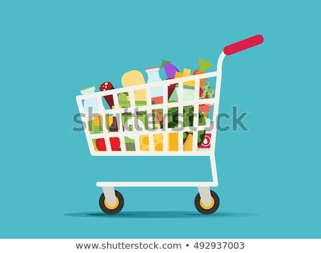 Carrinho de compras vermelho o ícone do vetor projeto tecnologia teia Foto stock © rizwanali3d