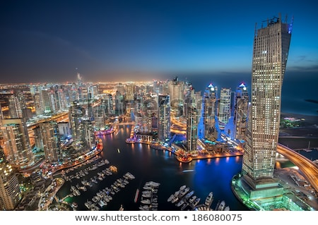 dubai marina skyscrapers during night hours stock photo © elnur