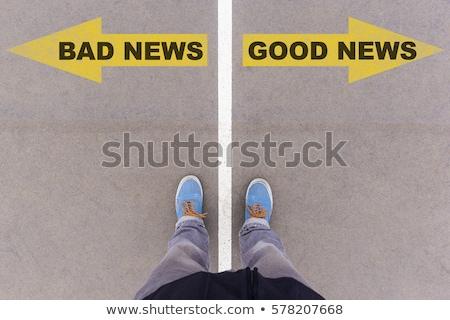 悪い知らせ 言葉 新聞 紙 背景 眼鏡 ストックフォト © fuzzbones0