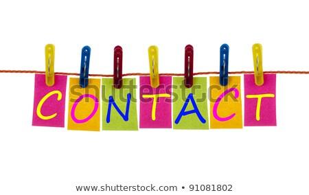 Kontakt słowo pranie hak biały działalności Zdjęcia stock © fuzzbones0