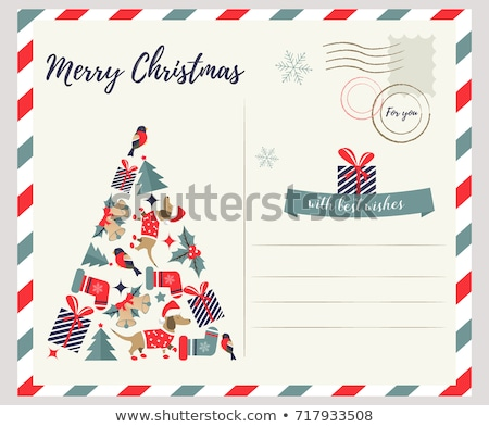 Dogs Christmas greeting templates stock photo © marimorena