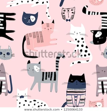 寝 · 猫 · 漫画 · 実例 · 面白い · グラフィック - ストックフォト © frescomovie