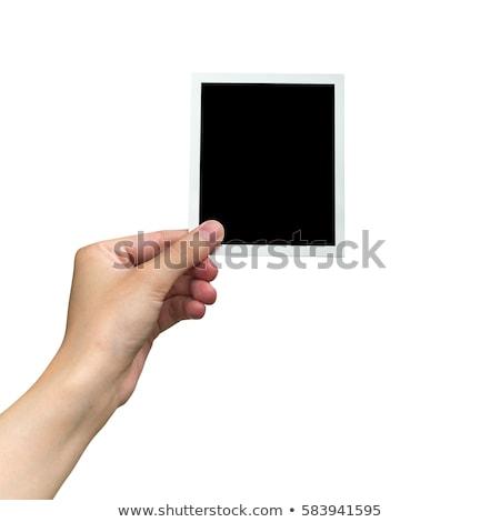 Uno immediato vuota photo frame carta legno Foto d'archivio © marimorena