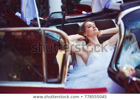 Happy bride in the car Stock photo © Paha_L