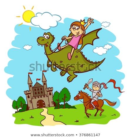 Nina dragón mítico espada lanza mujer Foto stock © ClipArtMascots