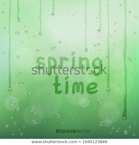 Esik az eső szöveg vektor esernyő üdvözlőlap eső Stock fotó © Fisher