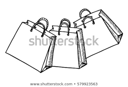 Firka bevásárlószatyor ikon kék toll kézzel rajzolt Stock fotó © pakete