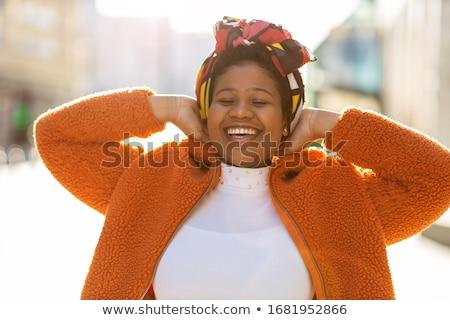 笑顔の女性 · 白 · Tシャツ · デザイン · 笑顔 · 幸せ - ストックフォト © zdenkam