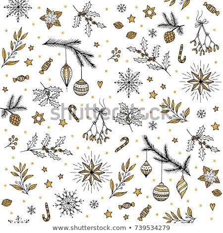 ストックフォト: Gold Snowflake Seamless Pattern Vector Illustration Beautiful Christmas Background