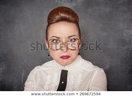 Enseignants drôle lunettes joli stylo affaires Photo stock © PetrMalyshev