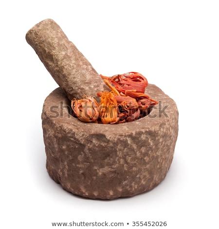 Organic Mace (Myristica fragrans) in mortar. Stock photo © ziprashantzi