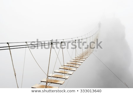 suspension bridge in the mountains stock photo © m_pavlov