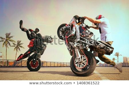 バイク スタント カスタム オートバイ 雲 ストックフォト © fouroaks