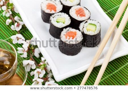 arroz · mármol · mesa · blanco · negro · negro · vida - foto stock © karandaev