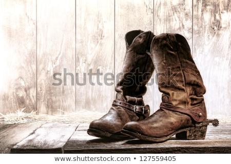 ロデオ カウボーイ ブート 後ろ 革 ストックフォト © lincolnrogers