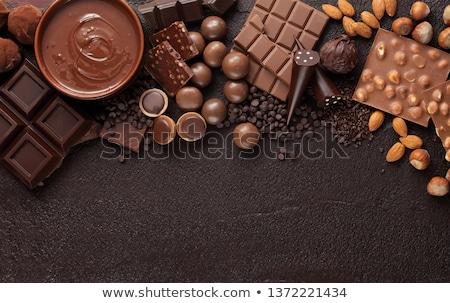 Sortiment Schokolade weiß isoliert Hintergrund Farbe Stock foto © OleksandrO