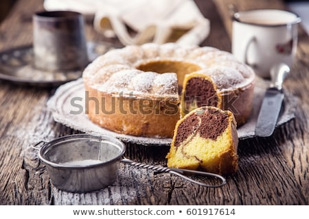 Márvány torta szeletek porcukor édes részlet Stock fotó © Digifoodstock