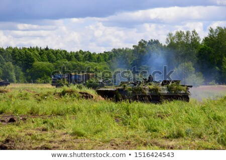 A soldier near the armour tank Stock photo © bluering