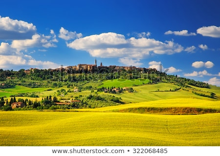 tuscany landscape panorama with pienza town on the hill italy stock photo © photocreo