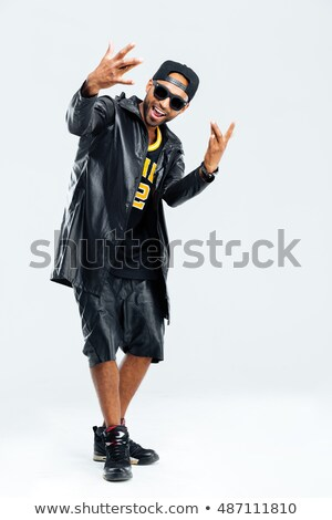 Stockfoto: Glimlachend · stijlvol · afro · amerikaanse · jonge · man · zonnebril