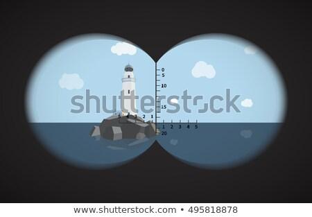 Widoku lornetki latarni skał morza plaży Zdjęcia stock © Evgeny89