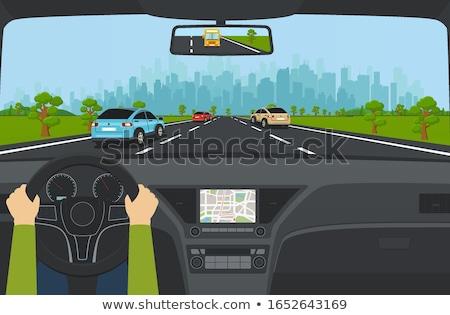 Cartoon background of road leading to city. Stock photo © RAStudio