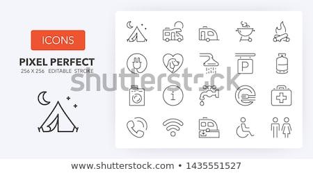 kempingezés · grafika · szett · felszerlés · ikonok · felirat - stock fotó © sdcrea