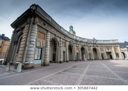 The fence of the Royal Palace with crown in Stockholm, Sweden Stock photo © vladacanon