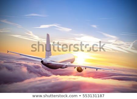blanco · aeronaves · cielo · azul · aterrizaje · cielo · azul - foto stock © artush