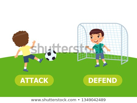 Flashcard for opposite words attack and defend Stock photo © bluering