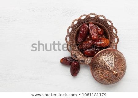 Bağbozumu Metal fincan tabağı plaka dekoratif Stok fotoğraf © Digifoodstock