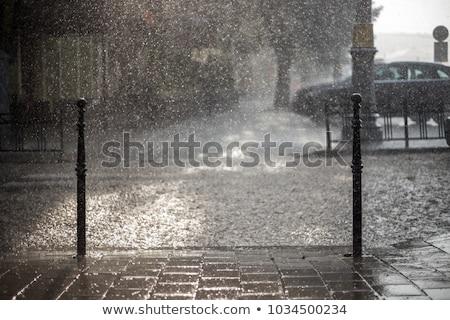 Város eső nehéz forgalom út autó Stock fotó © joyr