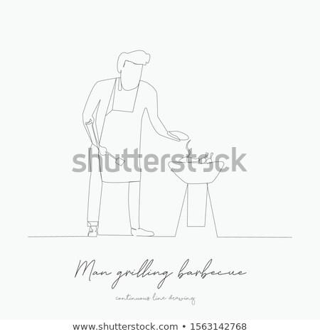 Adam barbekü kroki ikon vektör yalıtılmış Stok fotoğraf © RAStudio