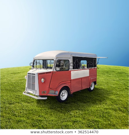 vermelho · comida · caminhão · verde · campo · retro - foto stock © dawesign