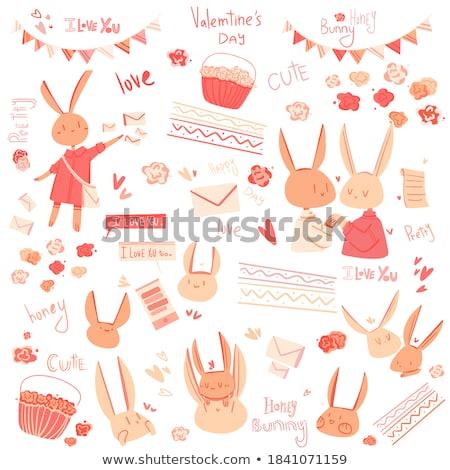gelukkig · valentijnsdag · konijnen · liefde · verhaal · Blackboard - stockfoto © dawesign