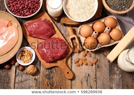 Alimentaire protéines bois fond fromages régime alimentaire Photo stock © M-studio