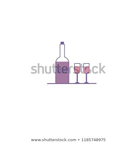 Iki gözlük şampanya etiket ikon stil Stok fotoğraf © lucia_fox
