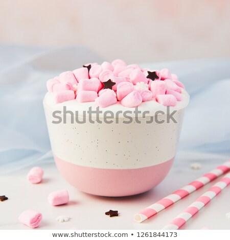 Blauw roze tabel top foto Stockfoto © deandrobot