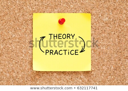Foto d'archivio: Theory Practice Arrows Concept On Sticky Note