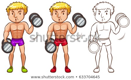 Doodle character for man doing weightlifting Stock photo © bluering