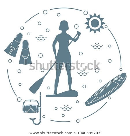 Woman with snorkelling equipment standing in ocean Stock photo © Kzenon