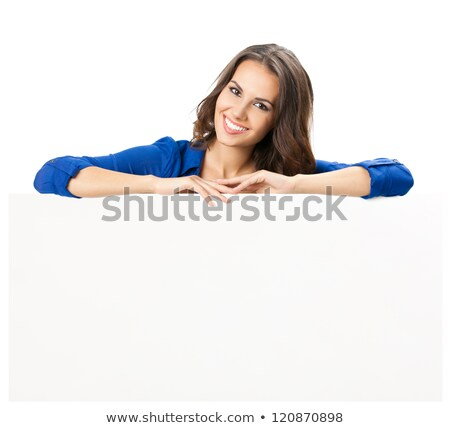 Young happy woman over white board Stock photo © konradbak