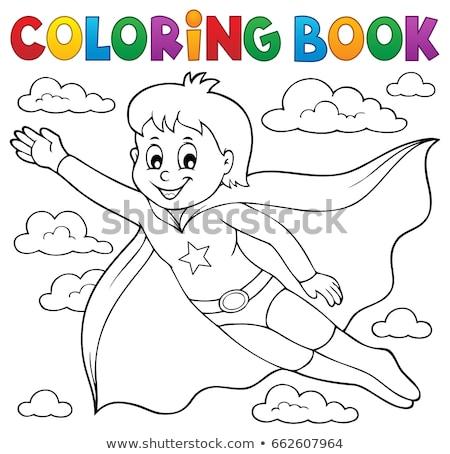 塗り絵の本 スーパーヒーロー 少年 雲 塗料 芸術 ストックフォト © clairev