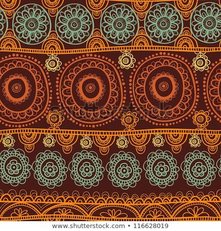этнических · индийской · орнамент · флора · шаблон - Сток-фото © mamziolzi