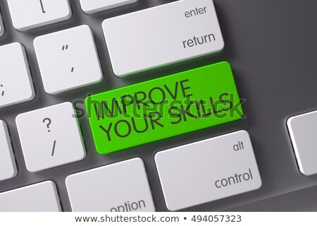 Groene vaardigheden sleutel toetsenbord 3D Stockfoto © tashatuvango