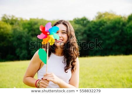 Foto stock: Mujer · hierba · molino · de · viento · amor · padre · viento