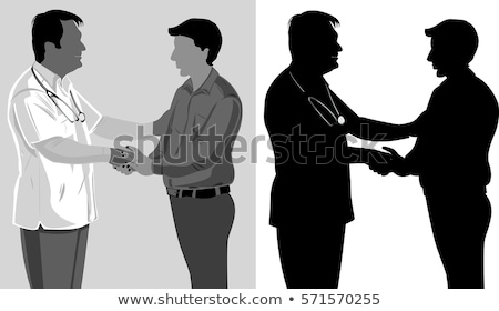 vector silhouettes of doctors and patients stock photo © naum