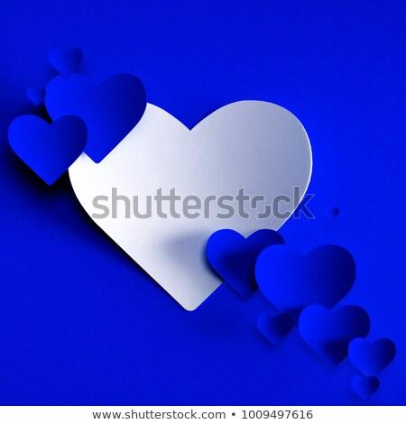 Dantel mavi kalp bağbozumu çerçeve Stok fotoğraf © ElaK