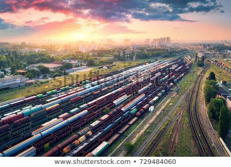 Luchtfoto kleurrijk treinen treinstation vracht goederen Stockfoto © denbelitsky