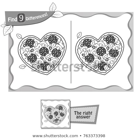 find 9 differences game pizza heart black  Stock photo © Olena